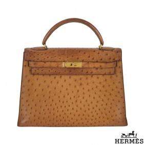 Hermes Exotic Ostrich 32 cm Vintage Kelly Handbag